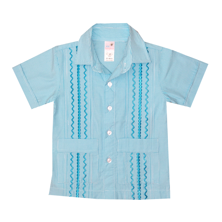 Turquoise and White Check Guayabera with Turquoise Thread