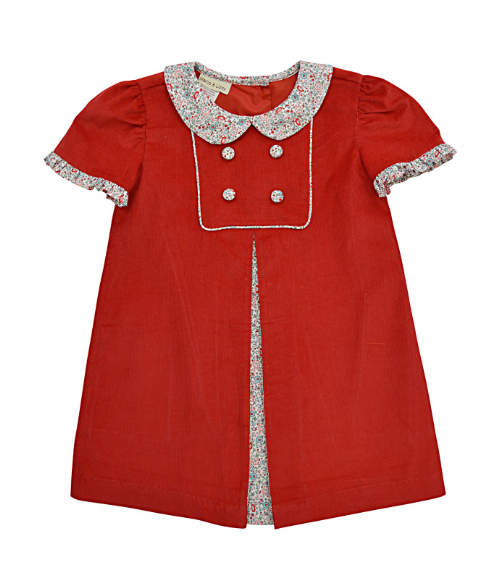 Marco and Lizzy Ava Red Cord Dress with Floral Trim
