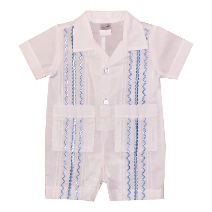 White Guayabera Romper with Light Blue Thread