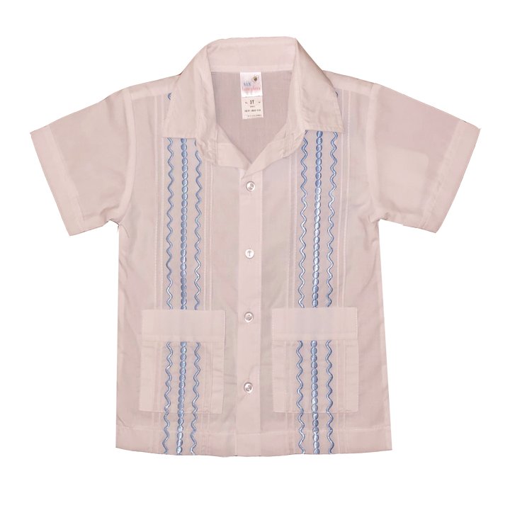 White Guayabera Shirt with Light Blue Thread
