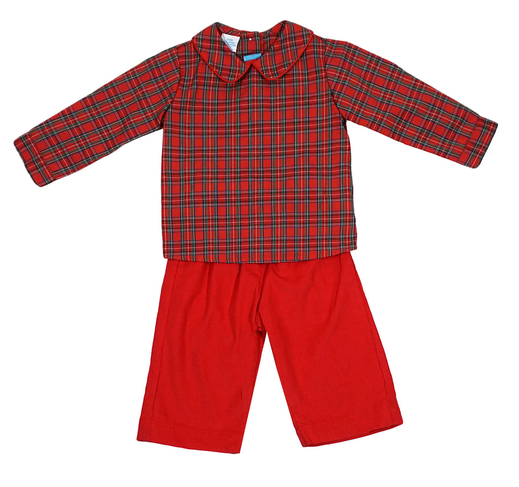 Claire and Charlie Red Plaid Pant Set