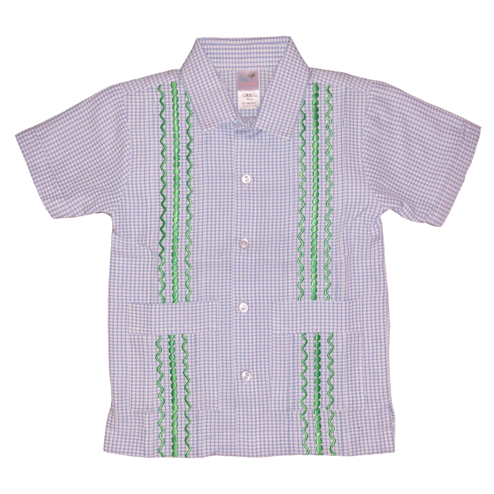 Hamptons Blue and White Check Guayabera with Kelly Green Thread