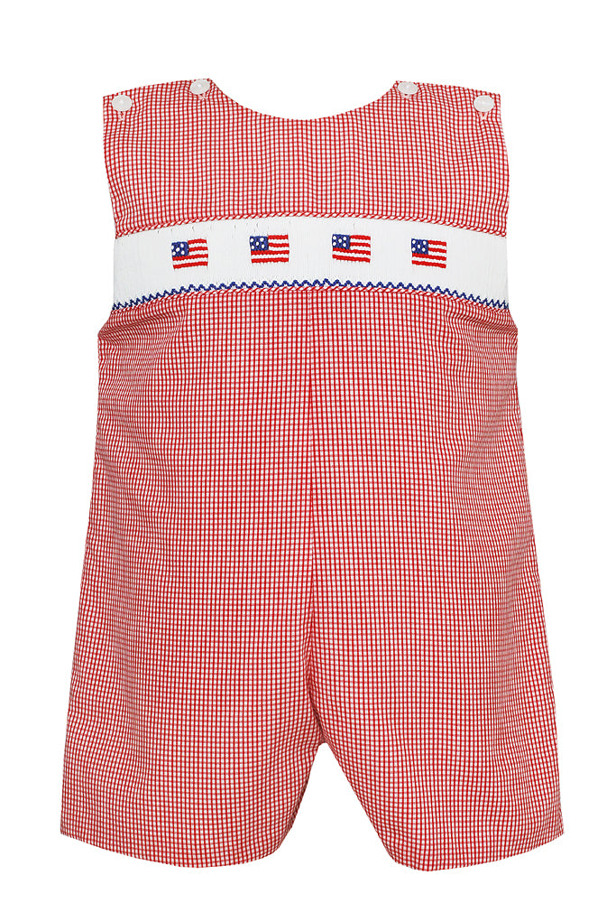 Petit Bebe Red Gingham Flags Jon Jon