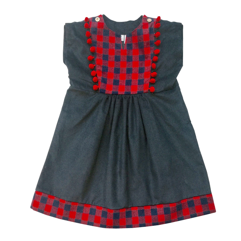 Busy Bee Kids Piper Dress Navy with Buffalo Check