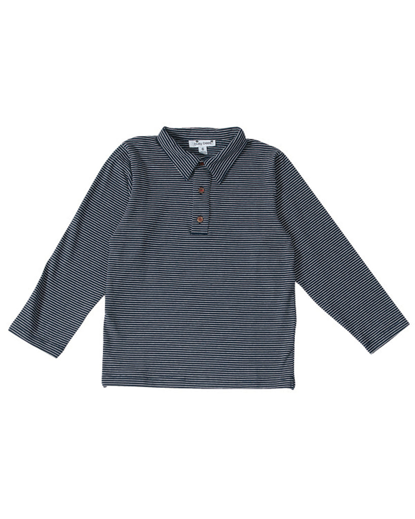 Busy Bee Kids Blue Navy Stripe Polo
