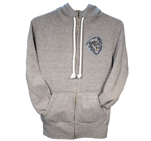 Men's Light Grey Full Zip Hoodie COLOUR Logo