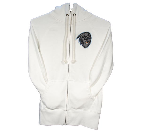 Women's White Full Zip Hoodie