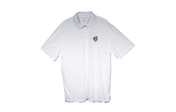Men's White with Colour Logo Golf Shirt