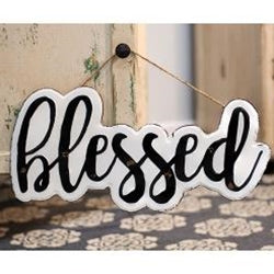 White Enamel Blessed Wall Sign with Jute Rope Hanger