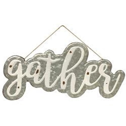 Galvanized Gather Wall Sign with Jute Rope Hanger