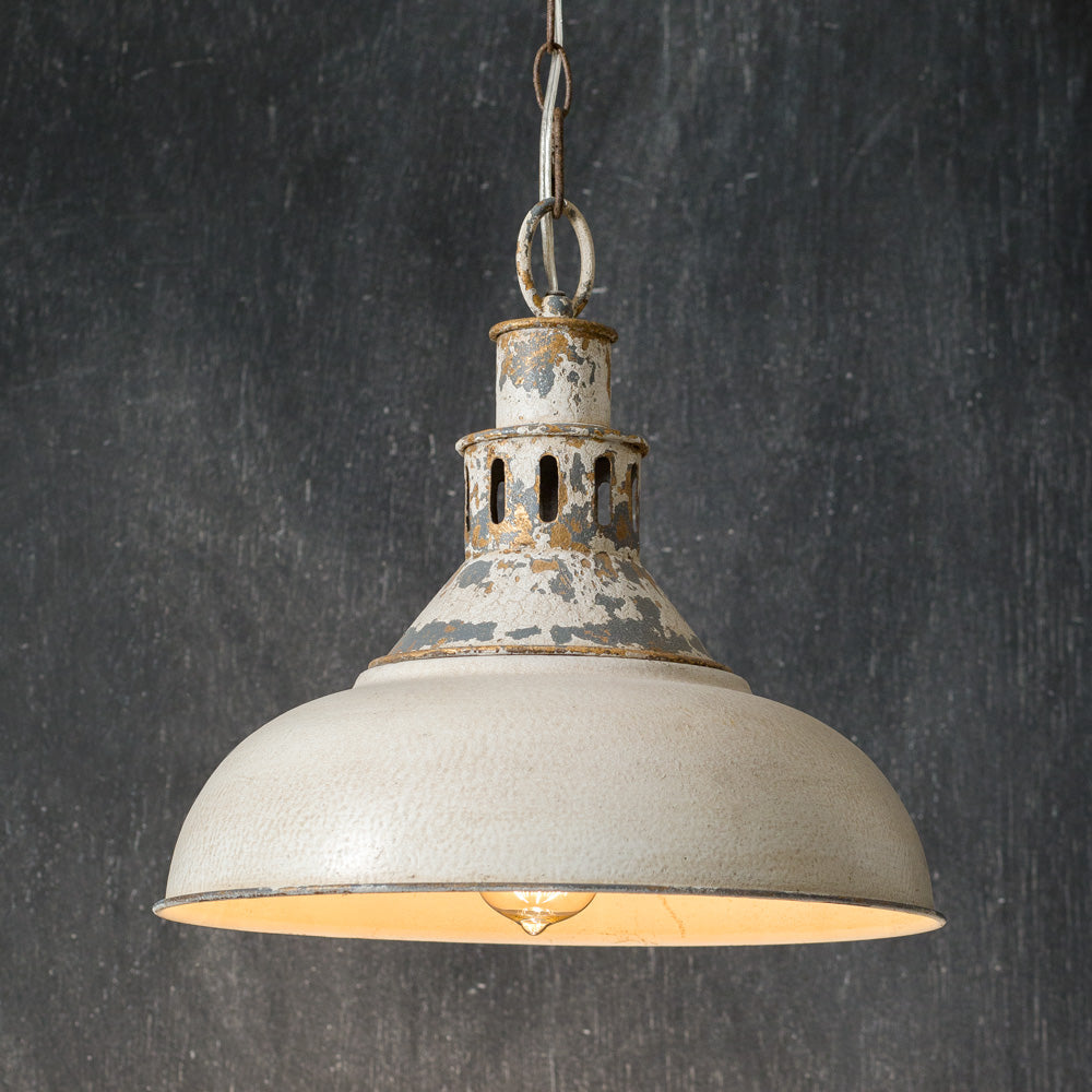 Future Ship 03/14 - Distressed White Barn Pendant Light - Farmhouse Decor