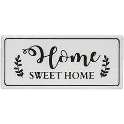 Home Sweet Home White Metal Wall Sign