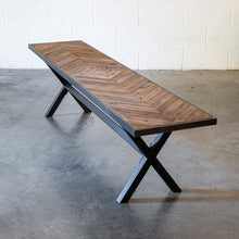 Wood Top Metal Frame Bench