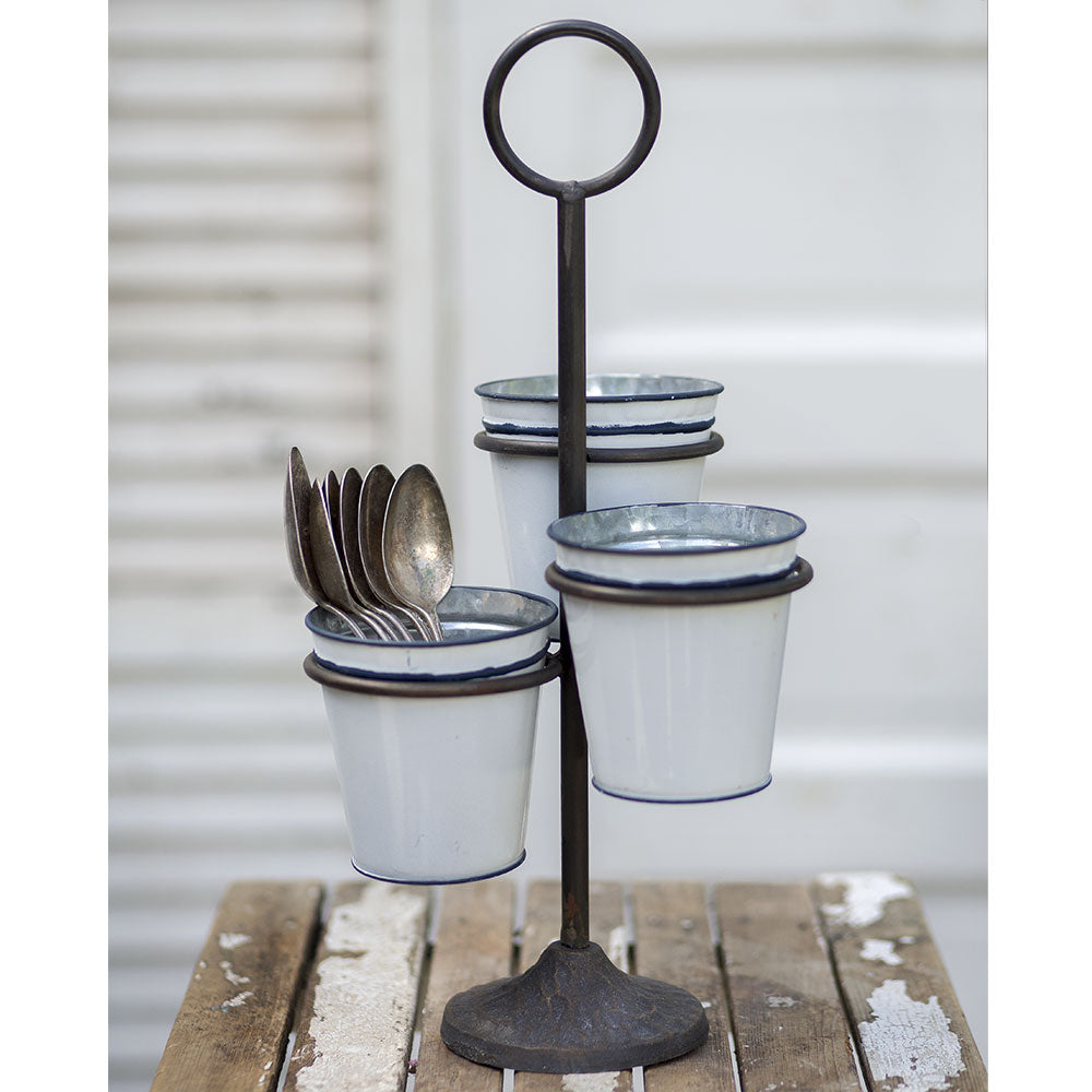 Three Bucket Stand - Farmhouse Decor