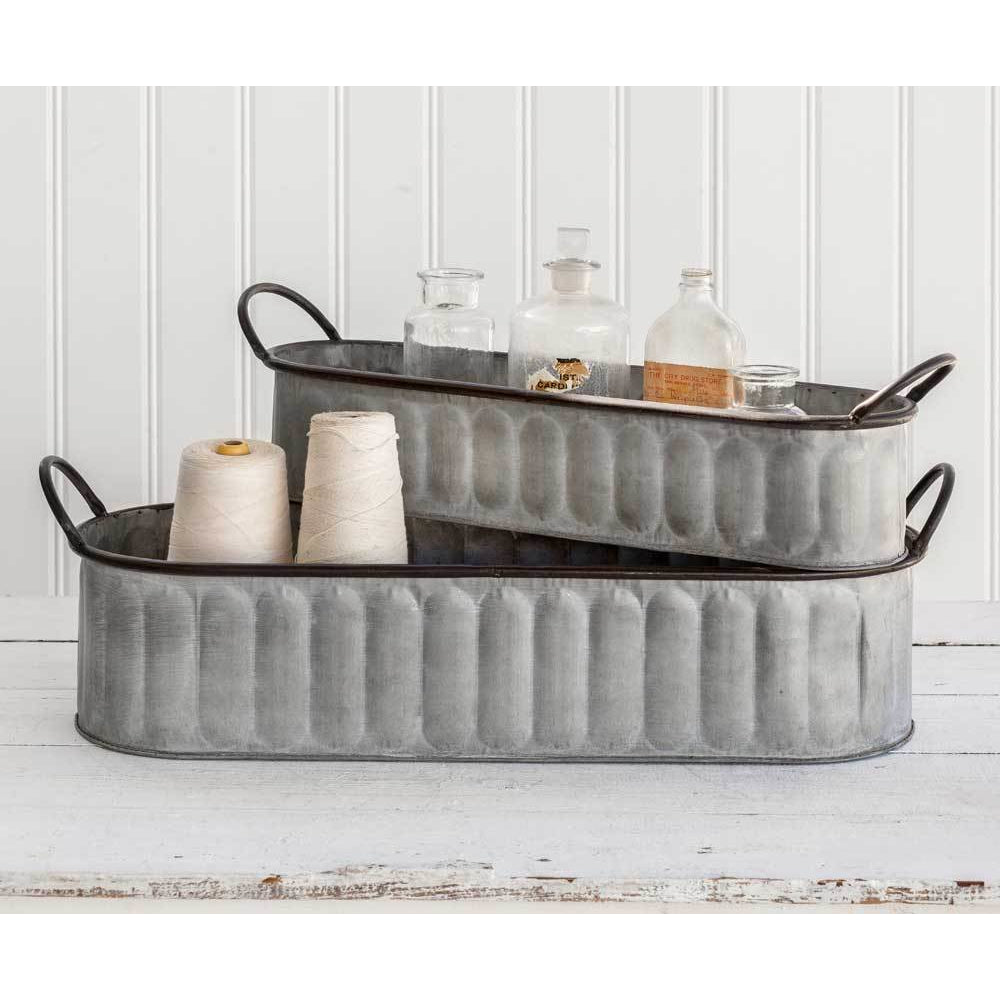 Oval Planters, Set of Two - Farmhouse Decor