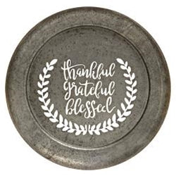 Thankful, Grateful, Blessed Metal Cutout Wall Plaque