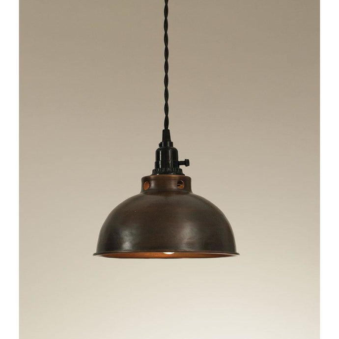 Dome Pendant Lamp - Aged Copper - Farmhouse Decor