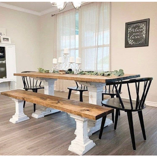 Amara Farmhouse Pedestal Table and Bench