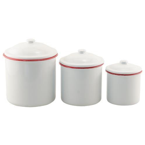 3/Set, Red Rim Enamel Canisters - Farmhouse Decor