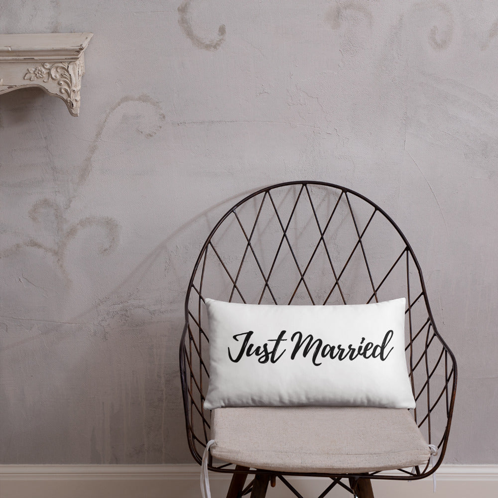 Just Married Calligraphy, Just Married Pillow, Wife gift, Throw Pillow, Farmhouse Pillow, Newly wed gift, - Farmhouse Decor