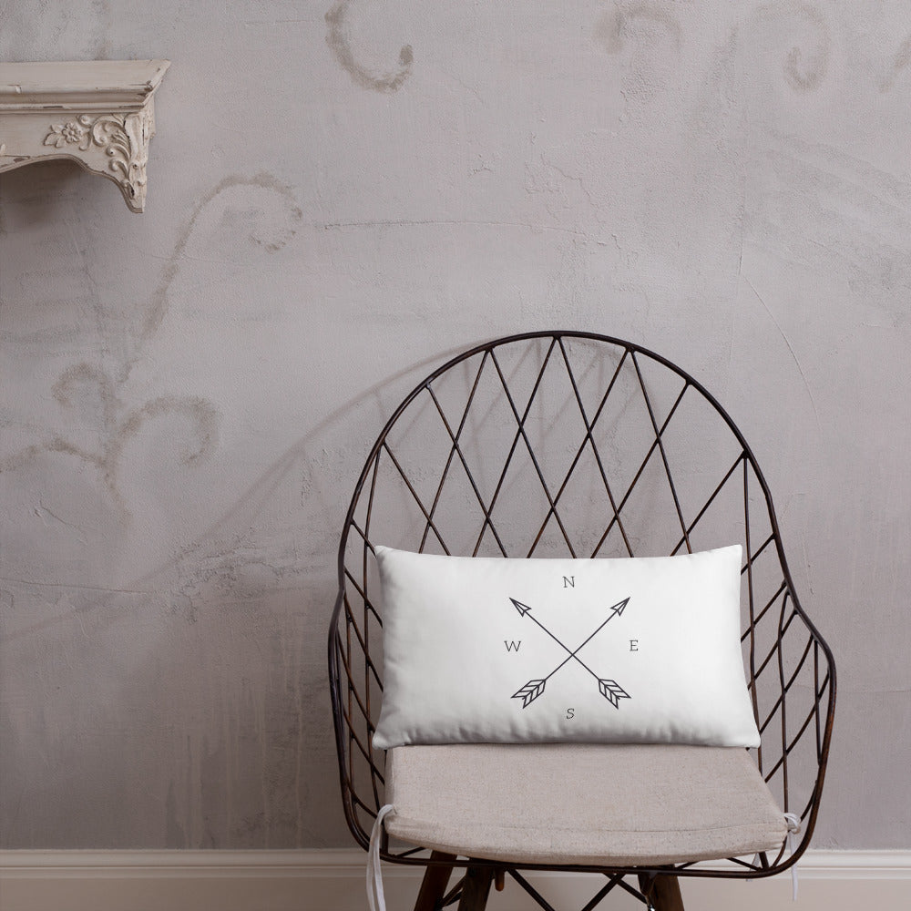 Throw Pillow, Farmhouse Pillow, Compass, 18 x 18 square linen pillow cover, white decorative cushion cover, north south east west, NSEW comp - Farmhouse Decor