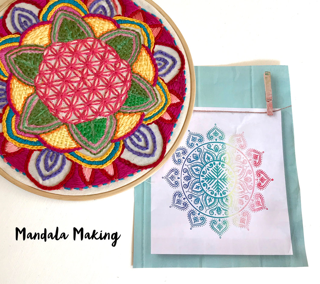 Mandala design and embroidery workshop 11th July (am session)