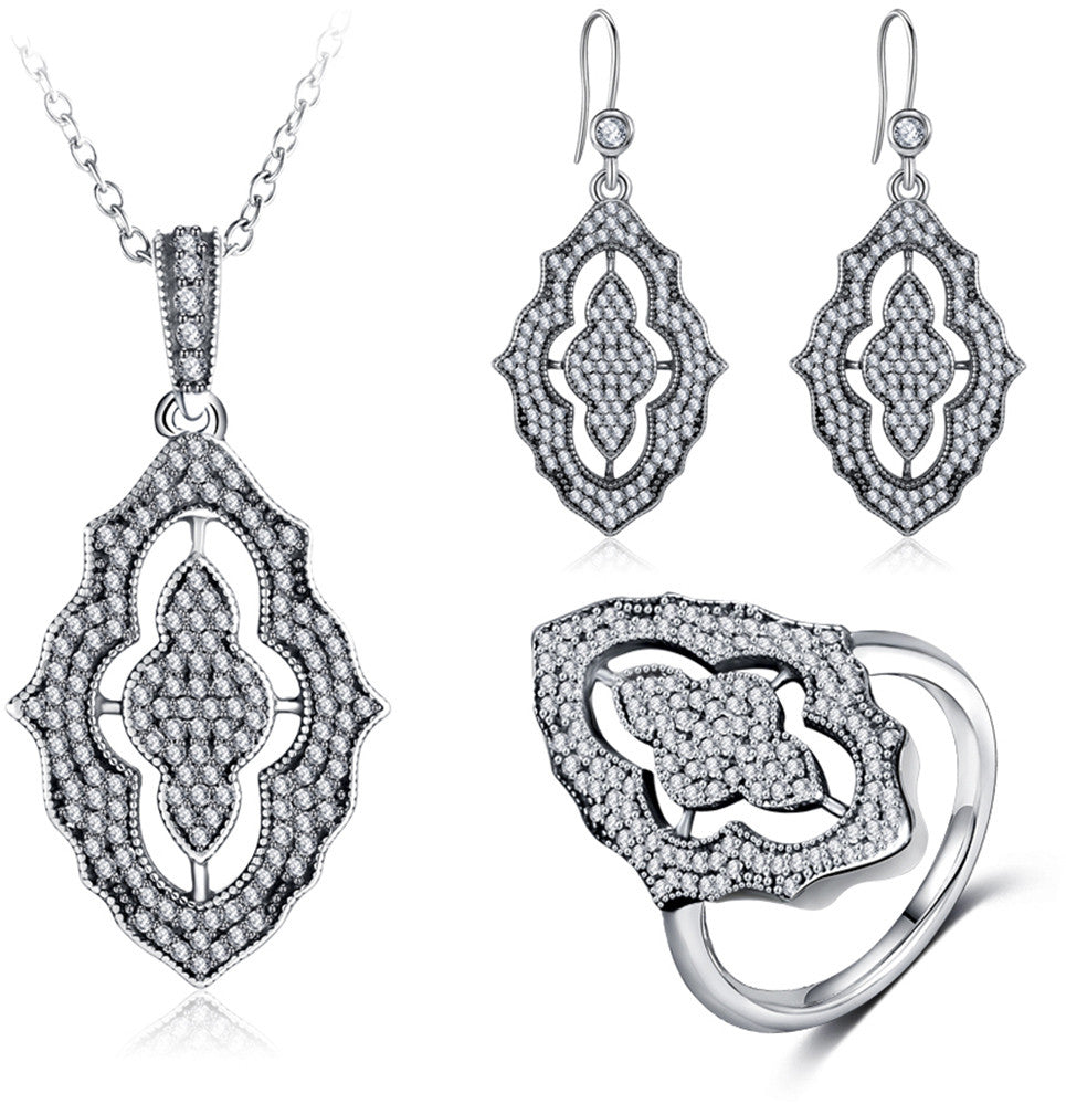 3146ba5e0 Original 925 Sterling Silver Jewelry 3 pieces Set: Pendant Necklace | Rings  | Earrings.
