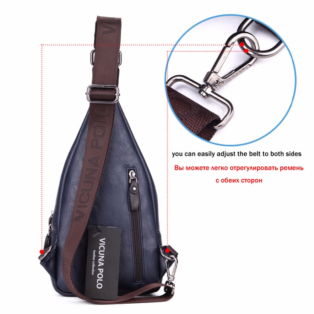 1654779e14d VICUNA POLO Famous Brand Theftproof Magnetic Button Open Leather Mens Chest  Bags Travel Crossbody