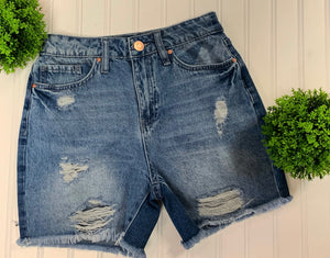 Distressed Frayed Denim High Rise Shorts