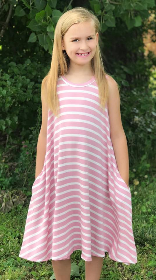 Light Pink Stripe Tween Dress