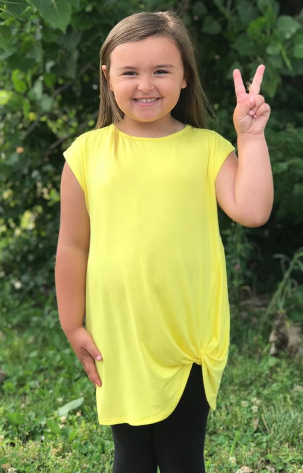 KIDS Bright Yellow Knotted Top