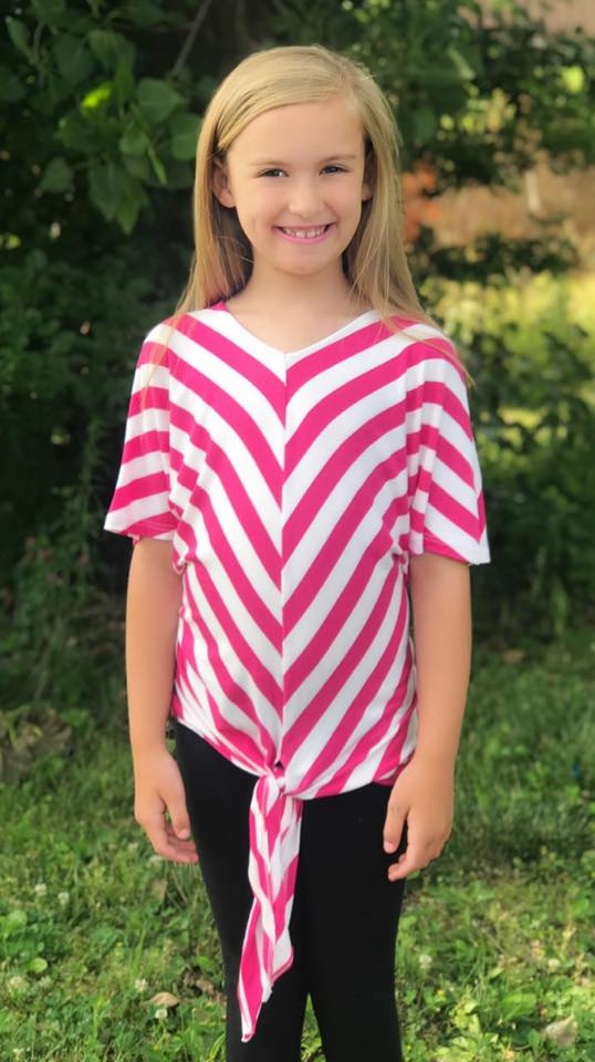 KIDS Pink & White Tie Top