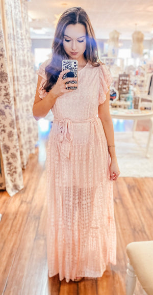Light Pink Lace Overlay Maxi Dress