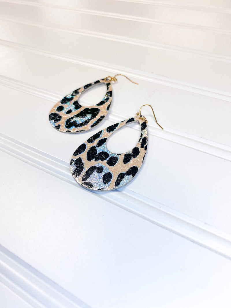 Shimmer Leopard Teardrop Earrings