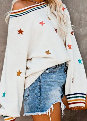 Multi Color Star Sweater with Stripe Neck