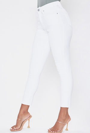 White High Rise Ankle Jeans