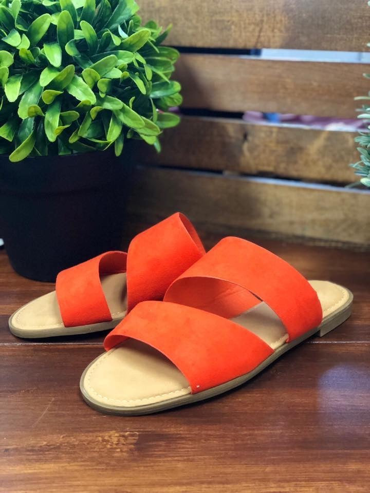 Orange Double Band Sandals