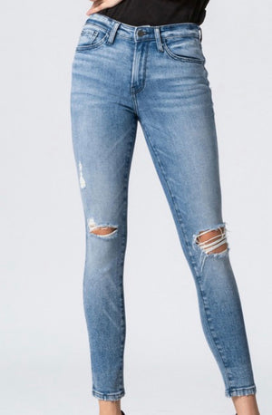 Flying Monkey Mid Rise Distressed Skinny