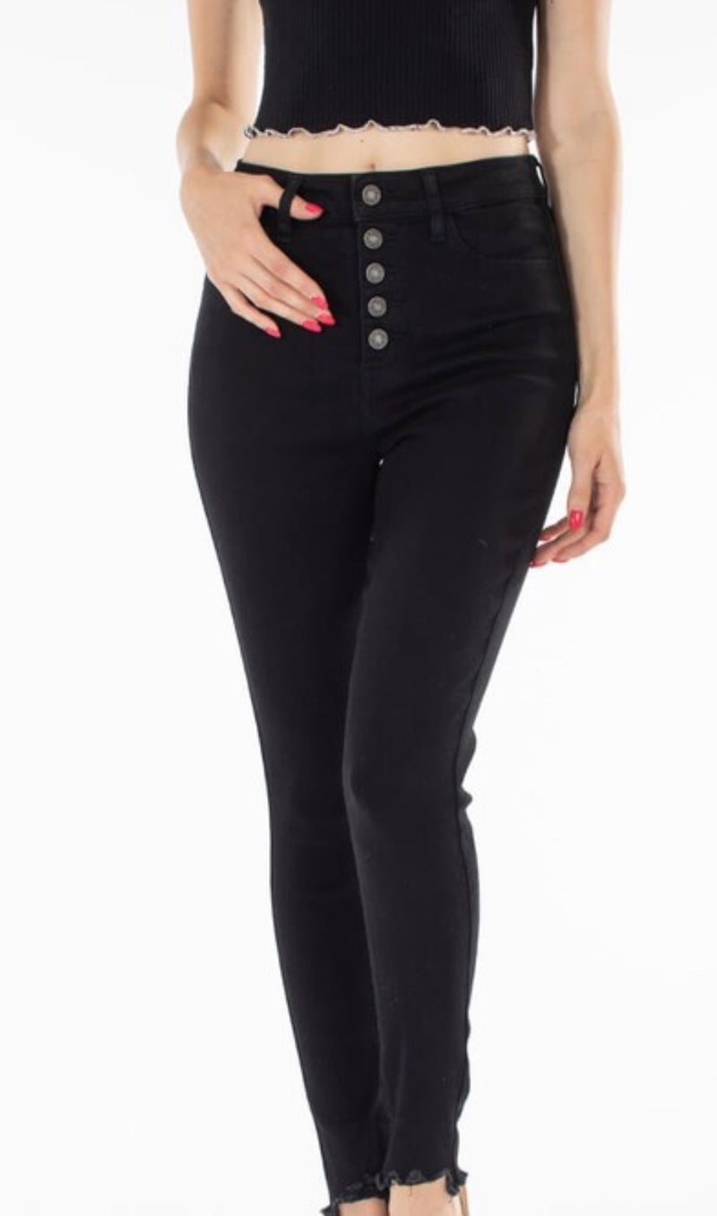 Kancan High Rise Black Button Fly Skinny Jeans