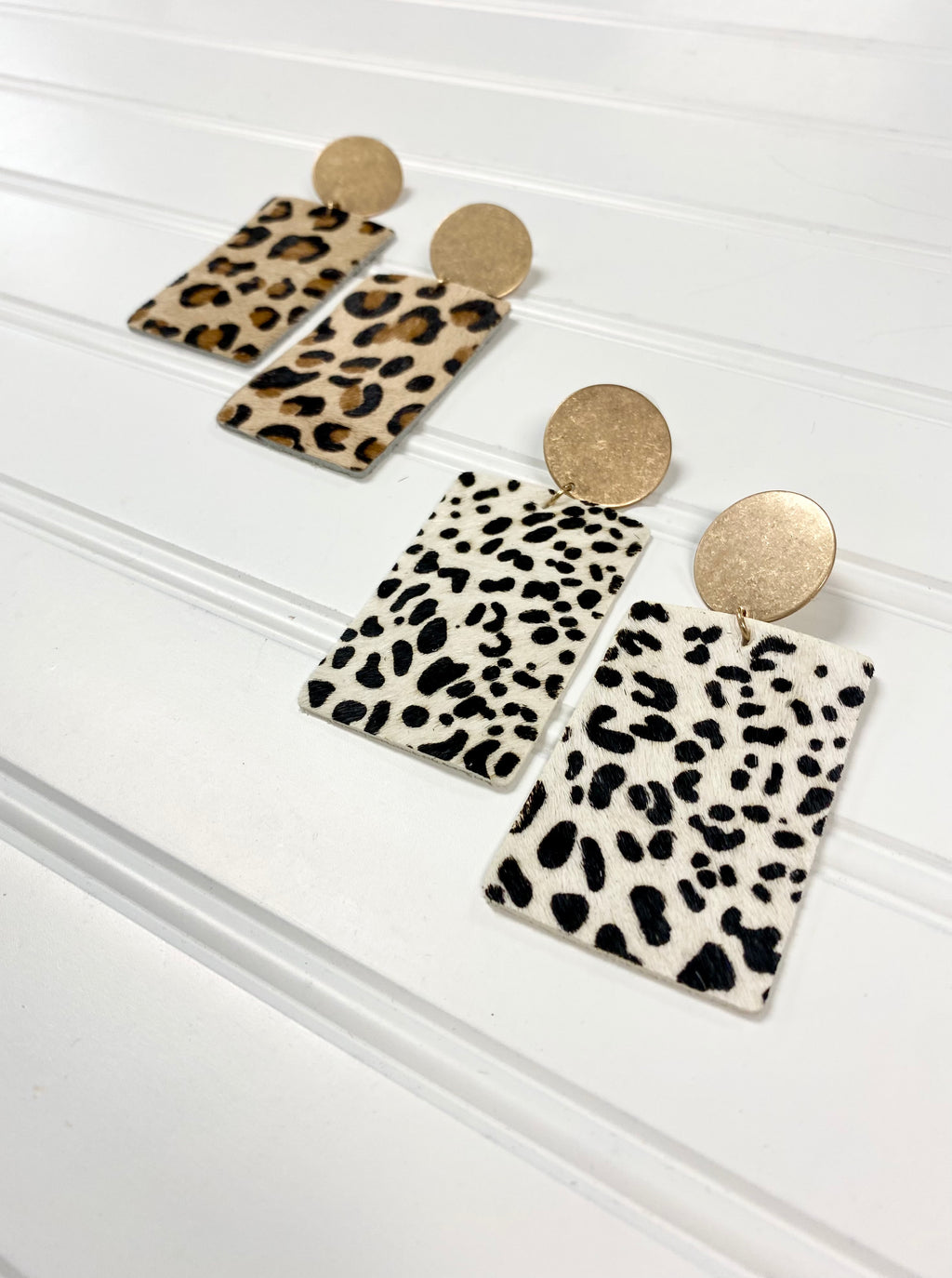Large Rectangle Leopard Leather Earrings