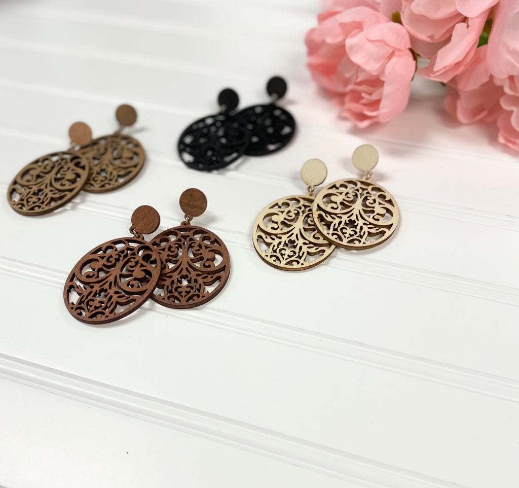 Oval Wooden Cutout Earrings