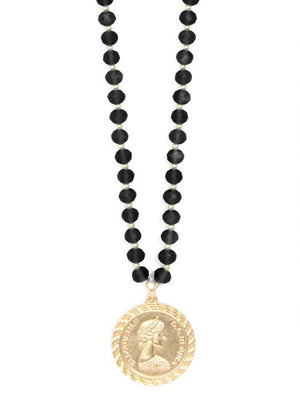 Zenzii Beaded Lucite and Links Coin Pendant Necklace
