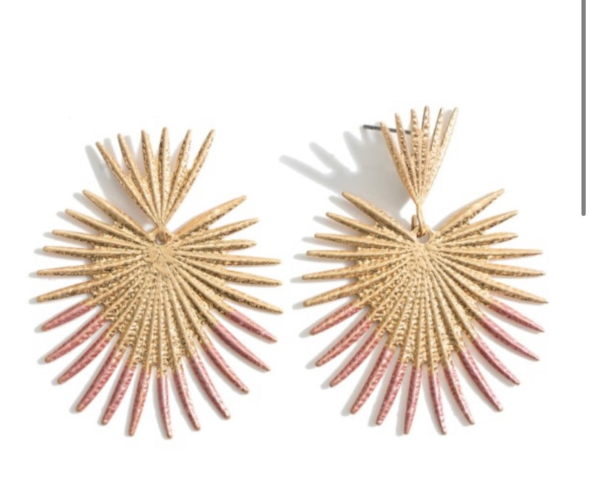 Gold Metal Spike Dipped Earrings