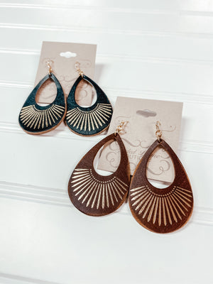 Teardrop Leather with Gold Accent Earrings