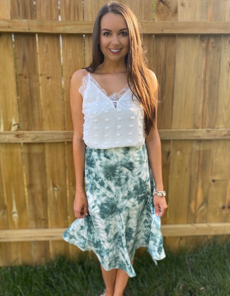 Green & White Tie Dye Skirt