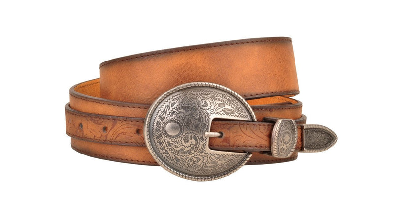 Large Buckle Leather Belt with Tooling Detail