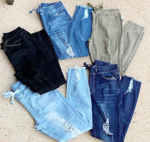 Pull On Distressed Joggers