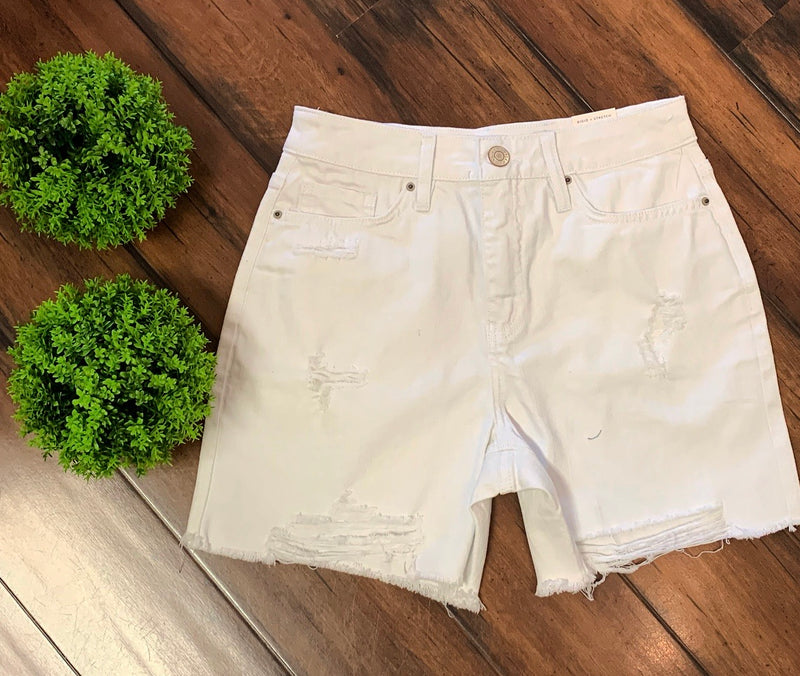 White Distressed Frayed Denim Shorts