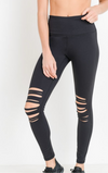 High Waisted Shredded Knee Leggings