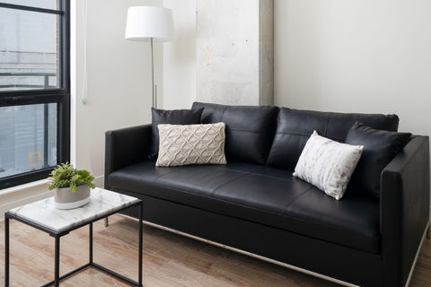 contemporary black leather sofa styling